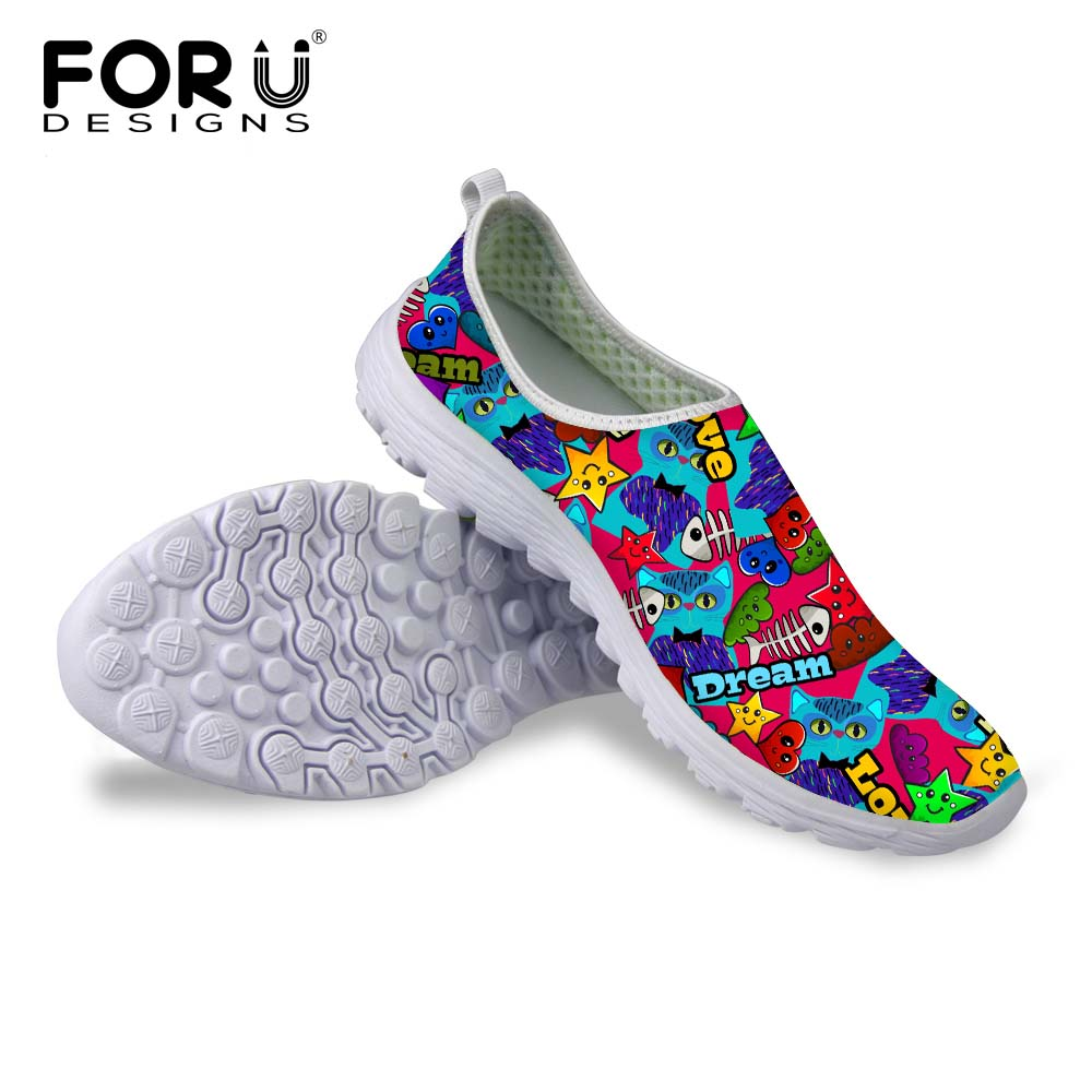 FORUDESIGNS 2017 Women Casual Shoes,Summer Ladies Breathable Flats Shoes,women Cartoon Shoes Zapatillas Deportivas Size 35-40 free shipping candy color women garden shoes breathable women beach shoes hsa21