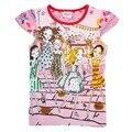 Camiseta de las muchachas ropa de la muchacha encantadora camiseta nova marca muchacha de los niños ropa de algodón del o-cuello de la ropa 2016 nueva moda K3870