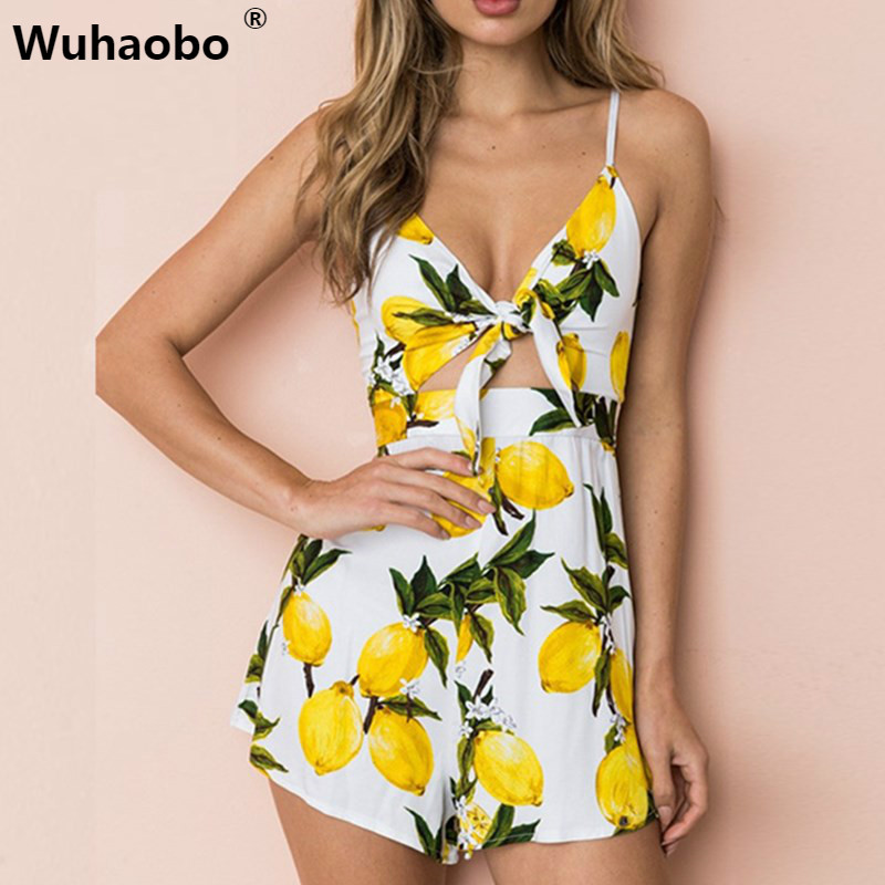 Wuhaobo 2 Style Floral Print Playsuits Women 2019 Summer Sexy Halter Bow  Sleeveless Boho Rompers