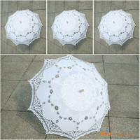 Classic Multi Color Noble Elegant Palace Style Long Arm Wedding Bridal Umbrella Embroidery Gingham Lace Parasol