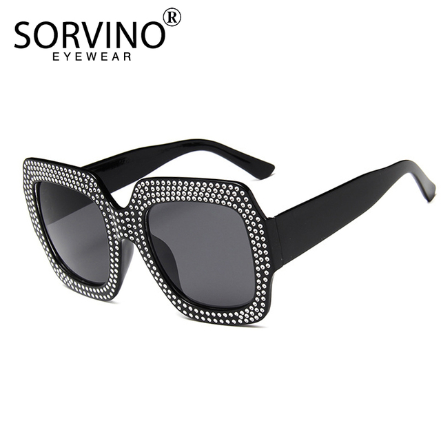 90735ed5168 SORVINO Bling Diamond Oversize Square Sunglasses Brand 2018 Women Tops Big Frame  Rhinestone Sun Glasses Red