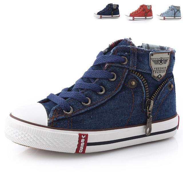 2016 Novas Crianças Chegada Sapatos Casuais Sapatos de Lona Dos Miúdos Das Sapatilhas Meninos calças de brim Flats Meninas Botas Denim Zíper Lateral Sapatos Tamanho 25 37