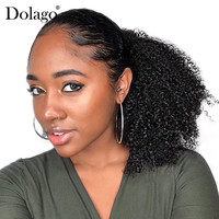 Kinky Curly Ponytail For Women Remy Hair 1 Piece 3B 3C Clip In Ponytails Extension Natural Black 100% Human Hair Dolago