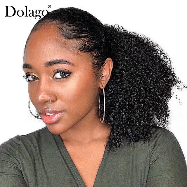 Кудрявый конский хвост для женщин, волосы remy, 1 шт., 3B 3C, зажим в конских Хвостах, натуральный черный, 100% человеческие волосы Dolago