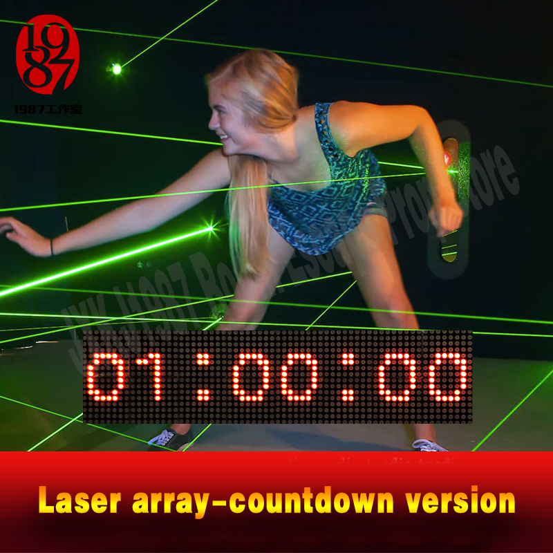 Real Life Escape Room Prop Laser Array Countdown Version Adventure Pass Through Green Laser Maze Within Countdown Timer JXKJ1987