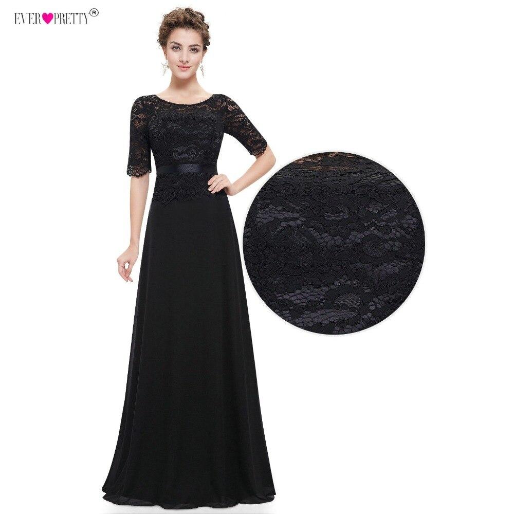 Ever Pretty Evening Dresses Long Elegant Black Lace Half Sleeve A ...