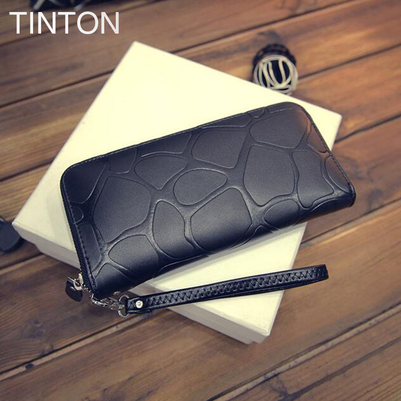TINTON 2018 new fashion ladies purse PU leather clutch womens embossed stone long wallet ladies card bit coin purse hot sell