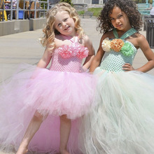 Handmade Removable Long Train Tail Girls Flower Tulle Tutu Dress Princess Costume Kids Pageant Birthday Party