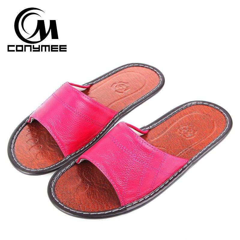 aa431546 CONYMEE verano 2018 mujer zapatos de cuero genuinos Sexy Flip Flop hombres zapatillas  interior zapatillas Sandalias de cuero de las mujeres en Zapatillas de ...