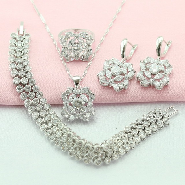 WPAITKYS Hot-Selling White Stone Silver Plated Jewelry Sets For Women Necklace Pendant Drop Earrings Bracelet Ring Free Gift Box