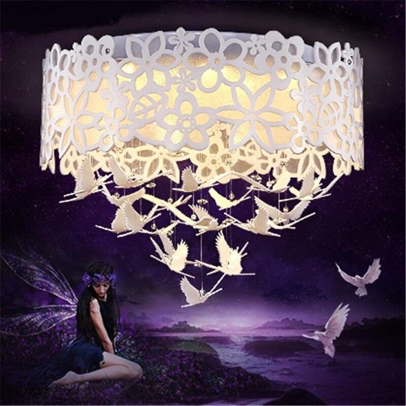 Chambre plafonniers chaud romantique originalité papillon cristal blanc restaurant lampe fille princesse mariage chambre fleur lampes