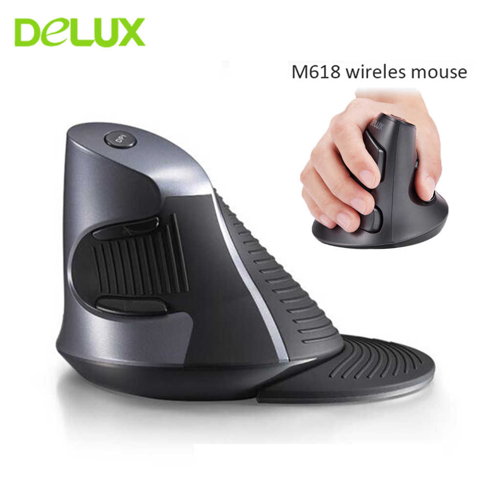 Delux M618 Ergonomis Vertikal Nirkabel Mouse Gamer Komputer 5D Mause 800/1200/1600 Dpi USB Optical Gaming Mouse untuk Laptop PC