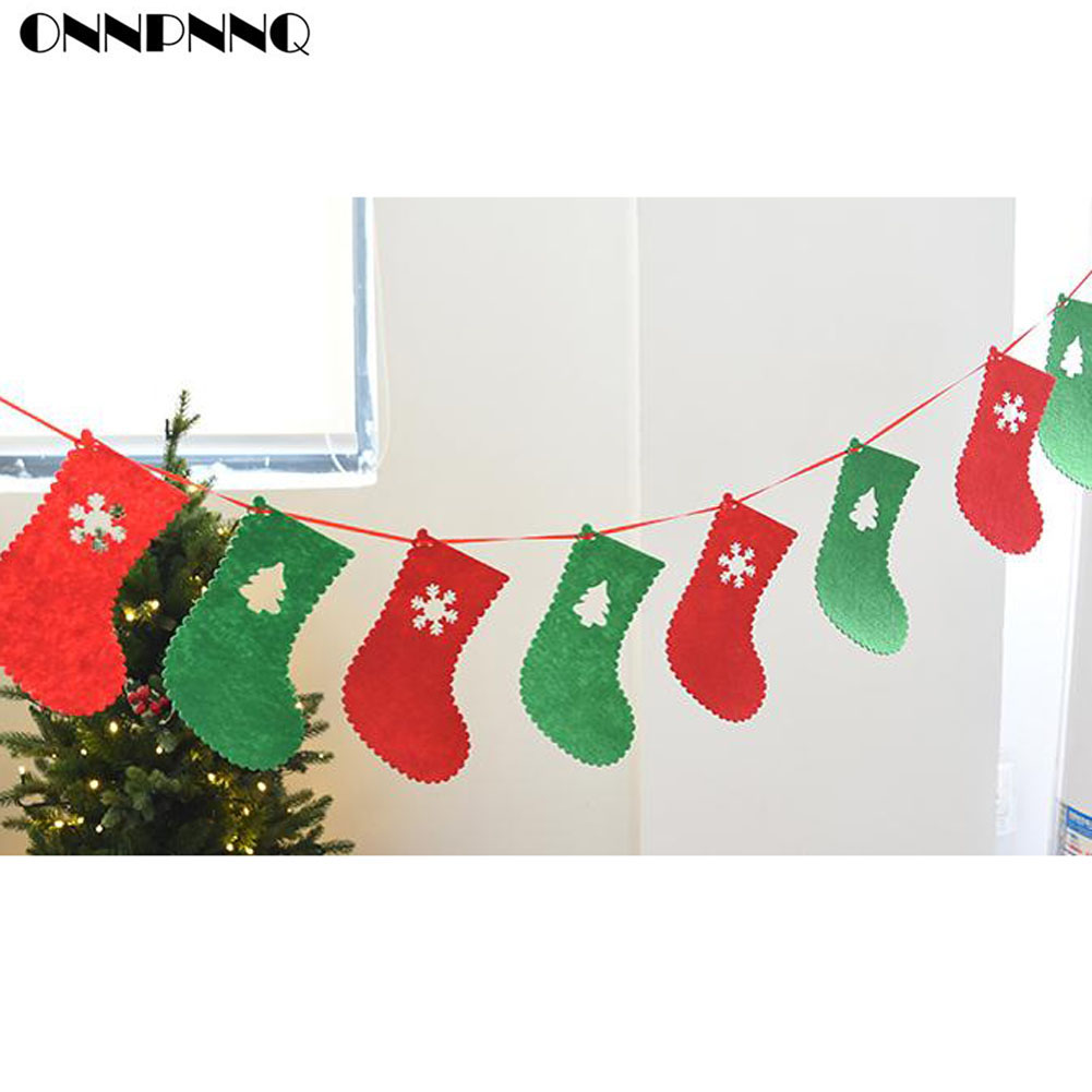 Glitter Paper Cristmas Hanging Bunting Banner Flag Baby Shower Party Decor