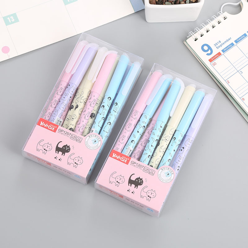 36 pcs/lot Cat Animal Erasable Gel Pen Cute 0.38 mm blue ink Signature Pen Escolar School writing Supply Promotional Gift