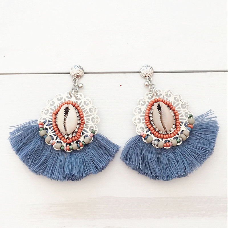 Dongmu jewellery 2017 new fashion party tassel earrings pendant retro bohemian lady jewelry new year gift