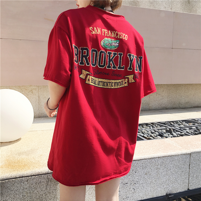 2f346d8d9bbe Kpop Harajuku Cotton Cute T Shirt Fashion Crocodile Letter Printed T Shirt  All Match V Neck Short Sleeve Casual T Shirt Base Tee-in T-Shirts from  Women's ...