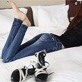 Envío gratis 2016 boyfriend jeans para mujeres pantalones vaqueros otoño femeninos lápiz de moda vaquera nueva yardas grandes pantalones de la cremallera de la cadera Delgada Y01