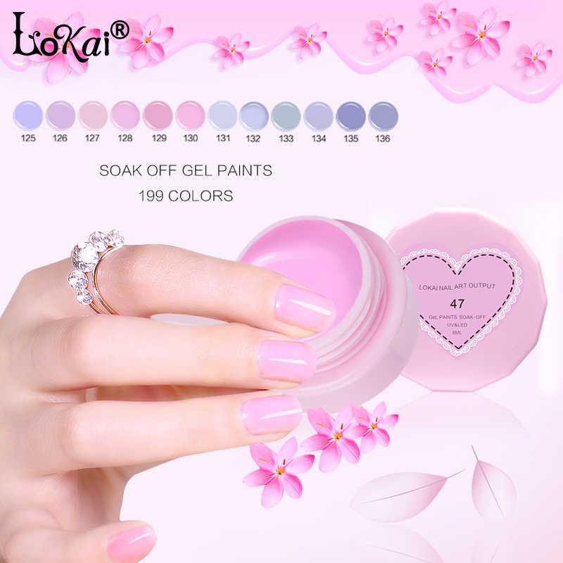 LOKAI boyama renk jel yeni 199 renk 6ml saf renkli tırnaklar Art Salon tavsiye emmek UV LED tırnak jeli renk boyalar 1-30