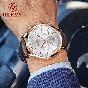 OLEVS Топ люксовый бренд мужские наручные часы кожаный Хронограф водонепроницаемые часы кварцевые мужские спортивные часы Военные relogio masculino