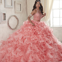 New 2 Piece Quinceanera Gowns Pink Scoop Organza Ball Gown Prom Dresses 2017 Sleeveless Zipper vestidos de 15 anos custom made