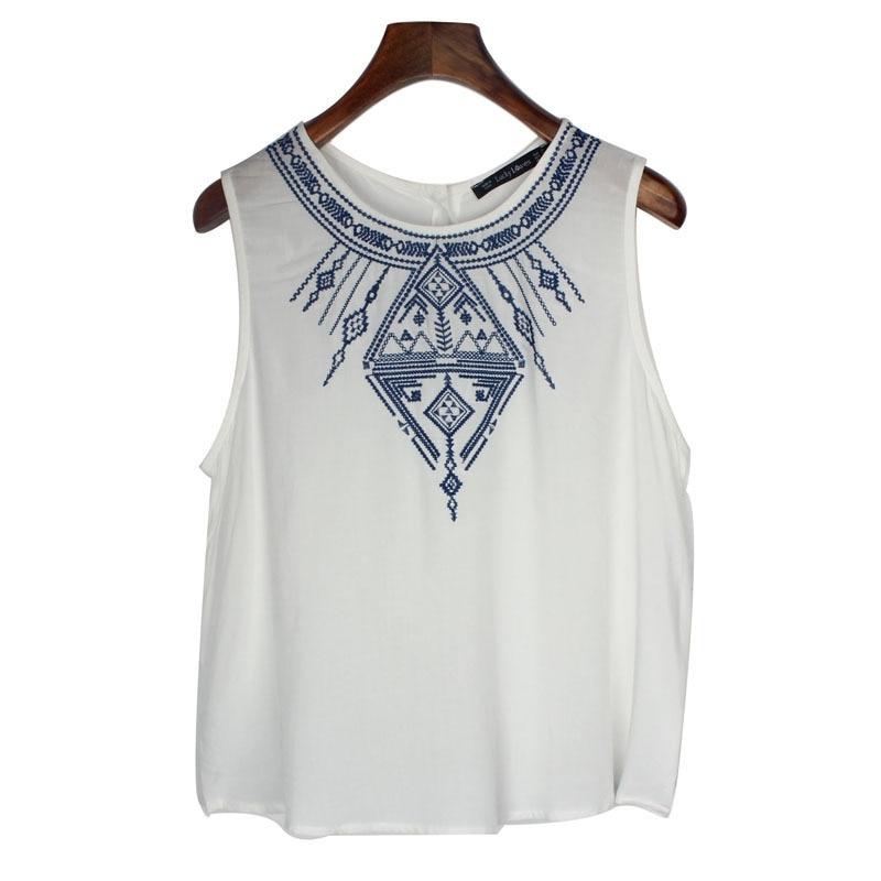 New Black White Fashion Summer Women Embroidery Sleeveless Retro Totem Printed T-Shirt Blouses Vest Tank Topsdrop shopping