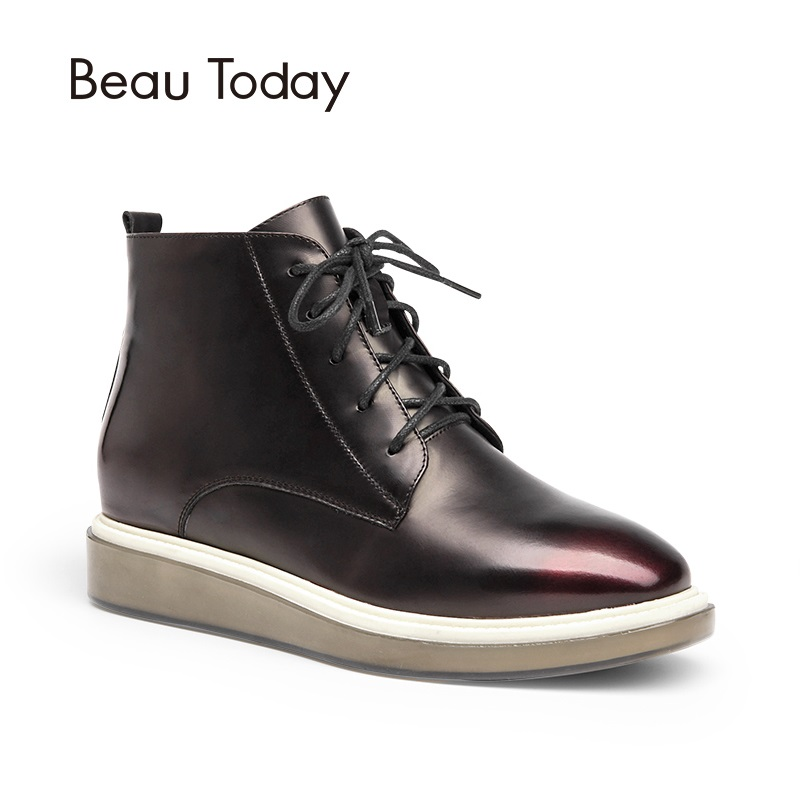 Beau Today Genuine Leather Ankle Boots Women Lace Up Casual Square Toe Patent Cow Leather Zipper