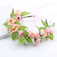 Handmade pink Rose Flower Headband Woman Girls Headwear Wedding Party Bride Crowns Hair Accessories party