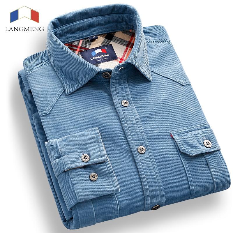 Buy langmeng spring 100 cotton corduroy for 100 cotton dress shirt