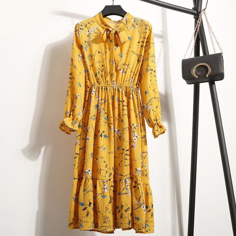 Elastic Waist Sweet Tunic Fashion Spring Summer Dress Vintage Women Chiffon Floral Casual Slim Print Bow Tie Neck Dresses