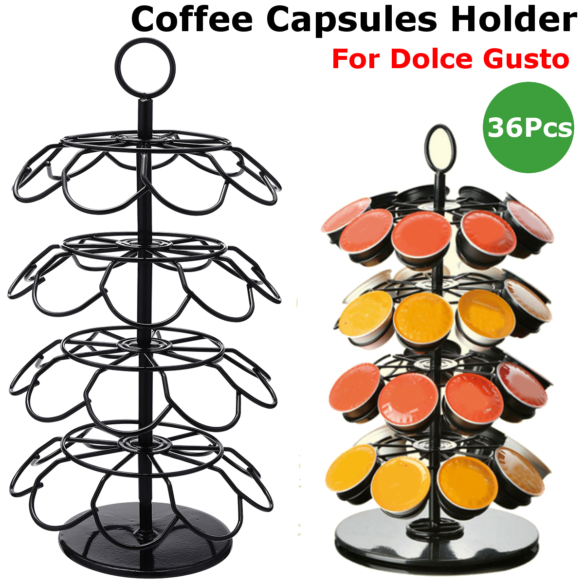 36Pcs Coffee Capsule Cup Holder Stand Capsule Storage Dispenser Rack For Dolce Gusto Home Kitchen Coffee Maker Appliance Part sobuy frg280 sch coffee pod capsule teabags drawer box holder cabinet coffee machine stand