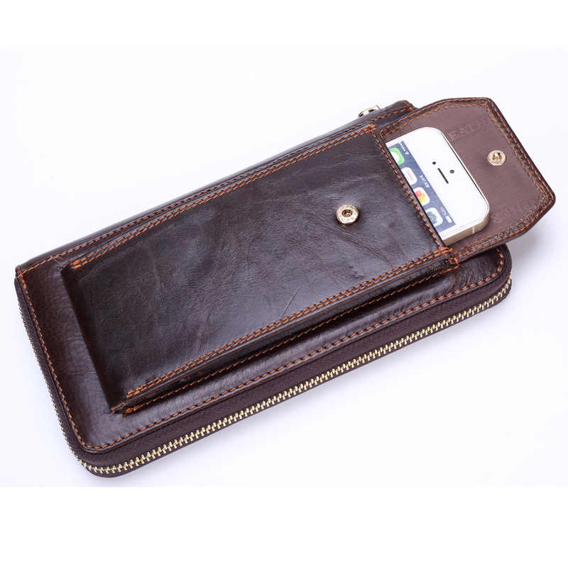 Brand Business Wallet Men Genuine Leather Man Clutch Handy Bag Luxury Standard Wallets Male Purse Cellphone Bag Card Holder
