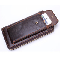 Brand Business Wallet Men Genuine Leather Man Clutch Handy Bag Luxury Standard Wallets Male Purse Cellphone