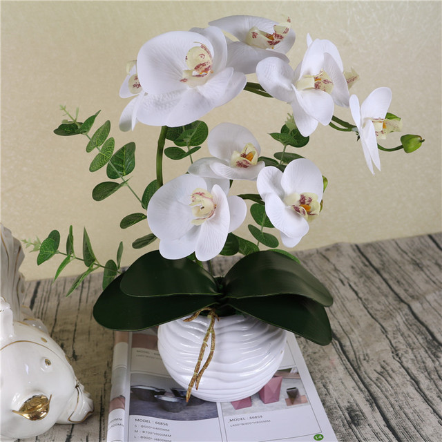 1set Silicon Like Real Touch Artificial Orchid Arrangement White