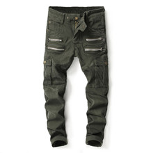Army Green Fashion Men Jeans Big Pocket Cargo Pants Military Style Balplein Brand Straight Fit Punk Streetwear Biker