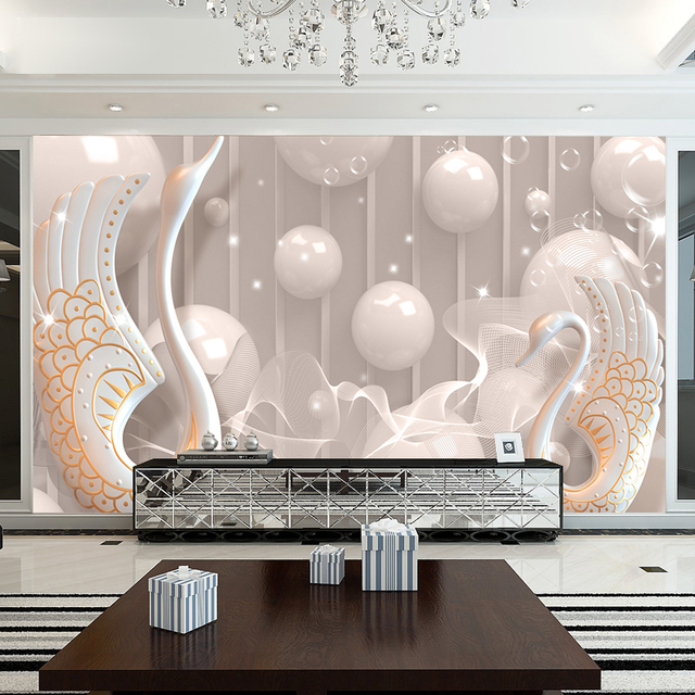 5d Wall Papel Murals Wallpaper For Living Room Ceramic Goose Animal Background Photo Paper