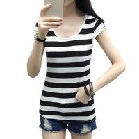 a0400e3b56ca5 BONJEAN Black White Stripes Cotton Female T-shirt 2017 Summer Slim Short  Sleeve Womens Tshirt