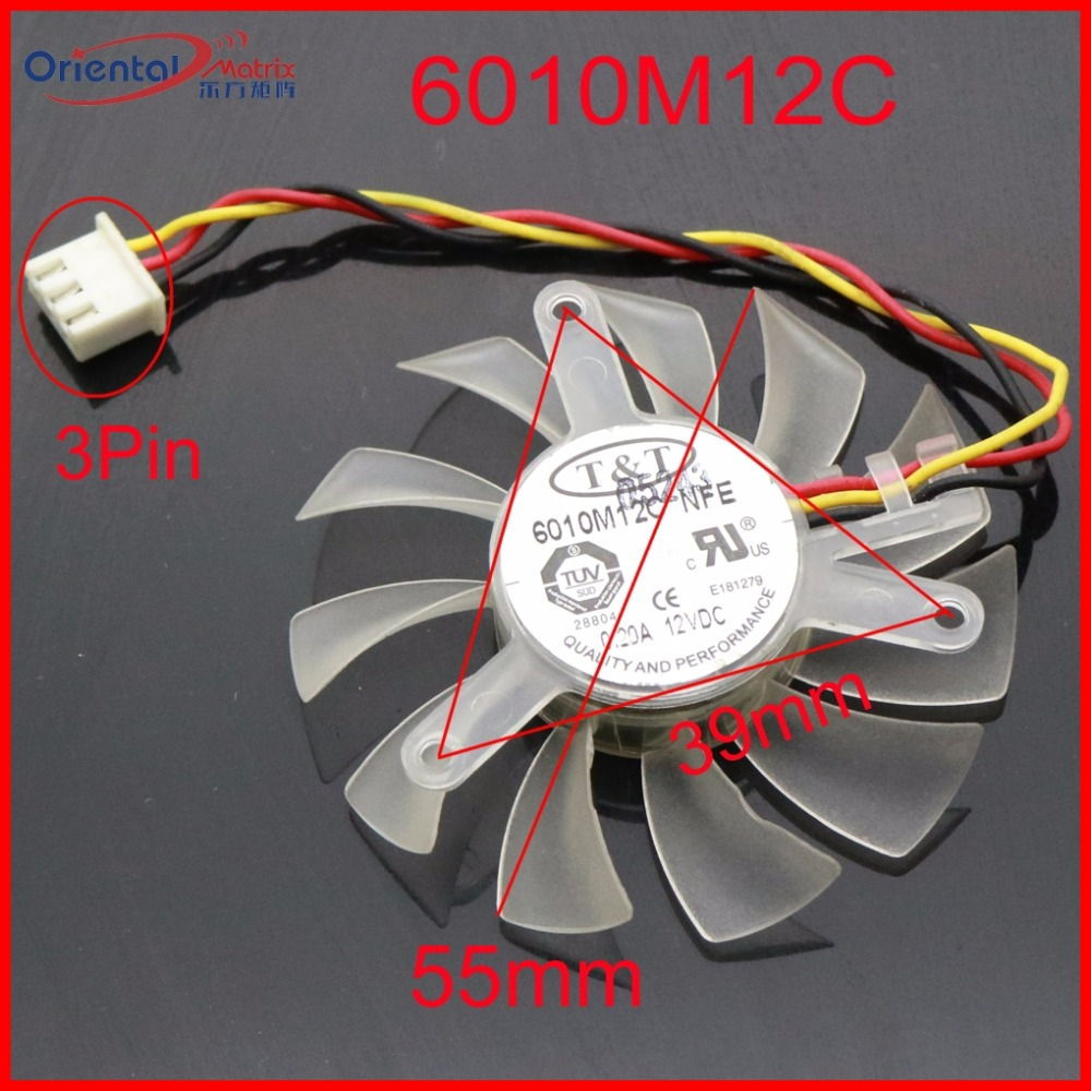 Free Shipping 6010M12C NFE 12V 0.20A 55mm 39*39*39mm Graphics / Video Card VGA Cooler Fan 3Wire 3Pin computador cooling fan replacement for msi twin frozr ii r7770 hd 7770 n460 n560 gtx graphics video card fans pld08010s12hh
