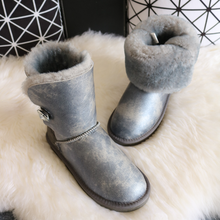 BLIVTIAE/Luxury Australia Sheepskin Snow Boots Natural Wool Sheep Fur In One  Boots Middle Button Waterproof Women Winter Boots