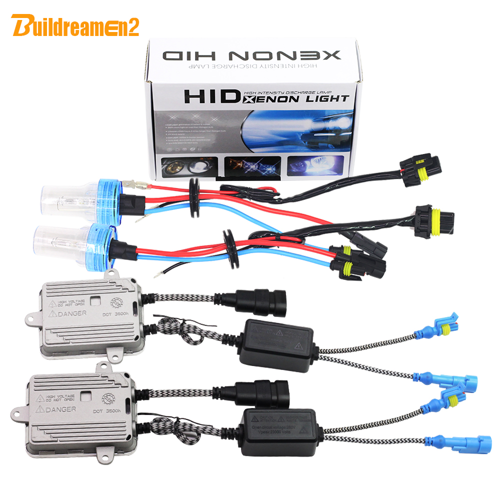 цена на Buildreamen2 H1 H3 H7 H8 H9 H11 9005 9006 881 880 55W AC HID Xenon Kit Bulb Ballast 6000K White Car Light Headlight Fog Lamp DRL