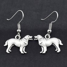 Retro Silver Newfoundland Drop Earring Boho Dog Charms Earrings For Women Brincos Big Earings Fashion Jewelry Pendientes Mujer(China)