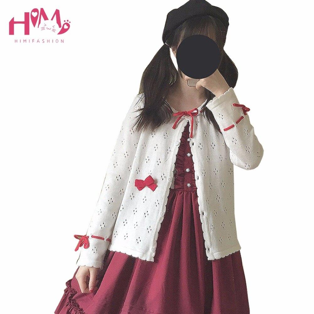 Primavera otoño corte hueco cardigan de punto blanco suéter mujeres camisa  moda japonesa lindo con 3 colores cordones f6ef4b2dc891