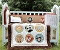 4 Pcs algodão fundamento do bebê Set 3D bordado do zoo esquilo raposa animais Quilt Bumper almofada travesseiro berço cama conjunto