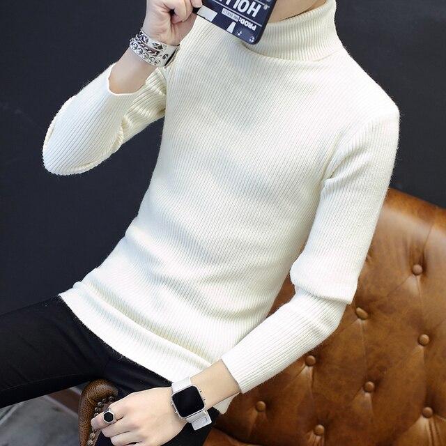 Твердые slim fit пуловер мужчины серый белый свитер мужчин бренд 2017 водолазка мужской свитер Зимний Толстый Теплый Трикотаж M-XXL
