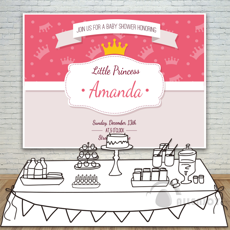 ФОТО Little Prince Baby Shower Birthday Crown Invitation celebration Party backdrops Photography Background Allenjoy Customize