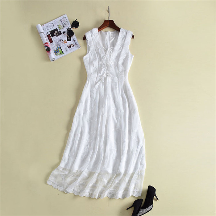 2018 high quality white fairy dress for women solid sleeveless tank dresses mid-calf frocks female elegant open bust strappy