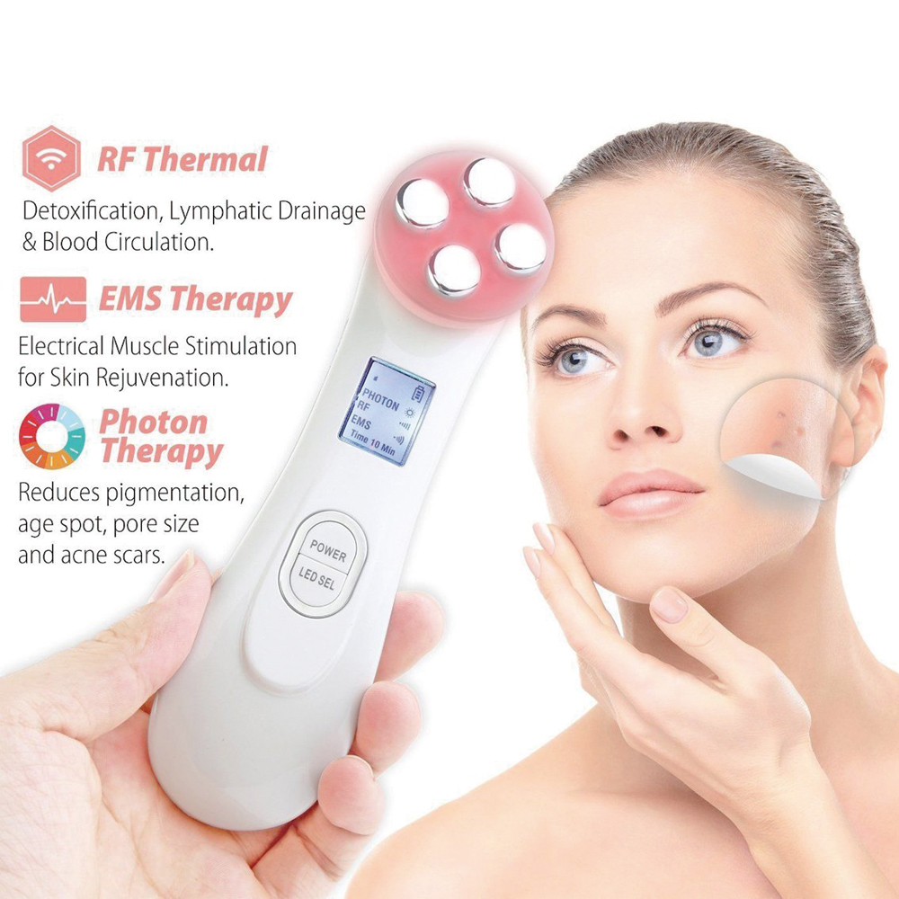 Beauty Skin Facial Wrinkle Removal 5 in 1 Multifunctional Instrument Firming Face Massager LED Photon Care