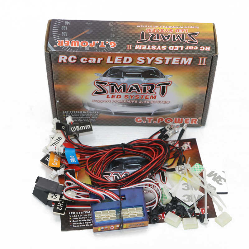 GT power RC Car lighting 12 LED inteligente controlable enlace modelo luces 2 PPM FM FS 2,4G kit de freno + faro + señal