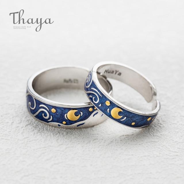 Thaya Van Gogh's Enamel couple rings Sky Star moon s925 silver Glitter Rings Engagement Ring Wedding Jewelry For Women 2