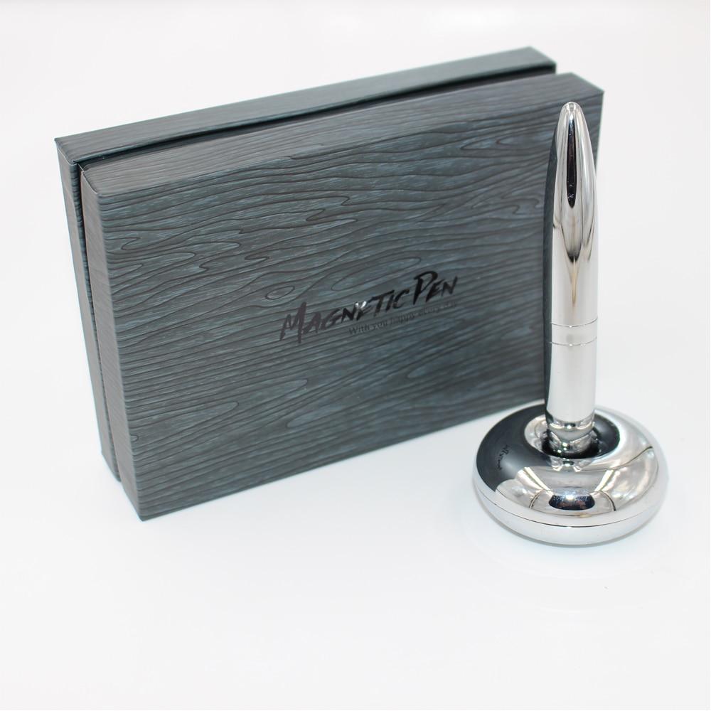 Pen-ul plutitor magnetic Magnetul cu bile cromat luminoase cu bază magnetică - stilou de scris cu suport pentru magnet pentru articole cadou de birou