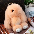 Real Rabbit Fur Doll Keychain for Womens Bag Charms or Car Pendant Key Chain jewelry pendant Keychain fur bags keychain